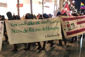 """Transparent """"Kein Fußbreit den Faschisten - Nazis die Räume dichtmachen"""""""